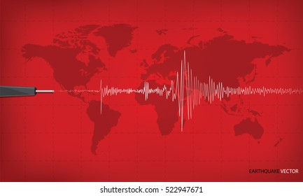 Seismic activity graph showing an earthquake on world map background. red tone art design. Vector illustration.