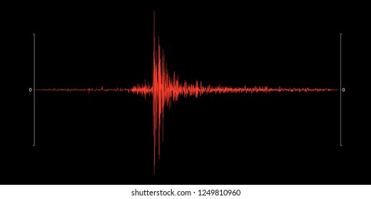 Seismogram of the earthquake. Seismic activity record. Scale Richter. Audio wave diagram concept. Vector illustration.