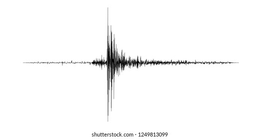 Seismogram of the earthquake. Seismic activity record. Scale Richter. Audio wave diagram concept. Vector illustration