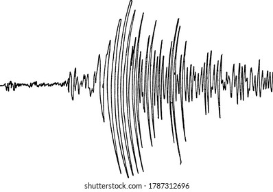 Seismogram, it is a record produced by a seismograph, vintage line drawing or engraving illustration.