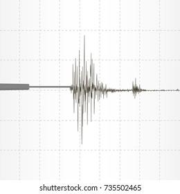 Seismogram seismic activity record. Vector illustration