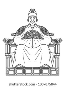 Sejong the Great (15 May 1397 – 8 April 1450) was the fourth king of the Joseon dynasty of Korea. He created and promulgated the Korean alphabet Hangul. Vector line art illustration.