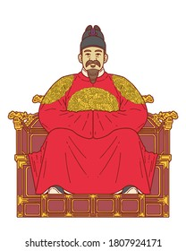 Sejong the Great (15 May 1397 – 8 April 1450) was the fourth king of the Joseon dynasty of Korea. He created and promulgated the Korean alphabet Hangul. Colored vector illustration.