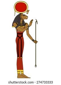 Sekhmet , egyptian ancient symbol, isolated figure of ancient egypt deities