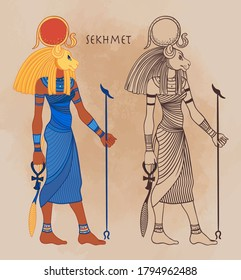 Sekhmet, the goddess of the sun, fire plagues, healing and war In Egyptian mythology. Vector illustration. A woman with the head of a lion and the sun disk above her.