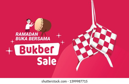 Selamat berbuka puasa bersama, happy iftar fasting ramadan banner sale Aidil Fitri with set of Ketupat the symbol of indonesian traditional food - Vector
