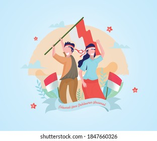 Selamat hari pahlawan nasional. Meaning: Happy Indonesian National Heroes day. Vector illustration for greeting card, poster and website banner
