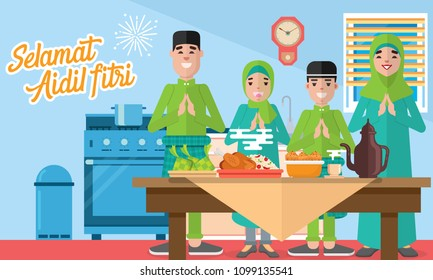 Selamat hari raya aidil fitri vector illustration with muslim family feasts, plentiful food, desserts and ketupat. Flat style vector illustration for Eid greeting card, banner, poster