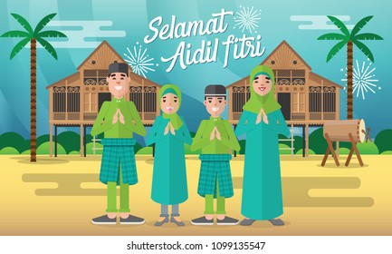 Selamat hari raya aidil fitri vector illustration with muslim family character and traditional malay village house / Kampung. Flat style vector illustration for Eid greeting card, banner and poster