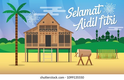 Selamat hari raya aidil fitri greeting card vector illustration with traditional malay village house / Kampung,mosque, drum and lamang.
