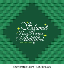 Selamat Hari Raya Aidilfitri greeting card with ketupat texture (malay rice dumpling). Green abstrac geometric background. (translation: Fasting Day of Celebration)