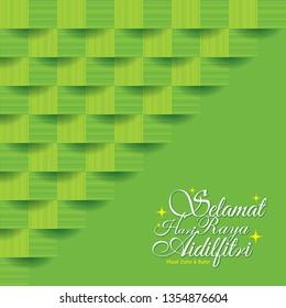 Selamat Hari Raya Aidilfitri greeting card with ketupat texture (malay rice dumpling). Green abstrac geometric background. (translation: Fasting Day of Celebration)