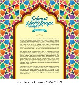 Selamat Hari Raya Aidilfitri is a greeting to muslim festival or celebration in colourful  arch architecture vector/illustration