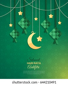 Selamat Hari Raya Aidilfitri greeting card. Vector illustration. Hanging ketupat and crescent with stars, garlands on green background. Caption: Fasting Day of Celebration