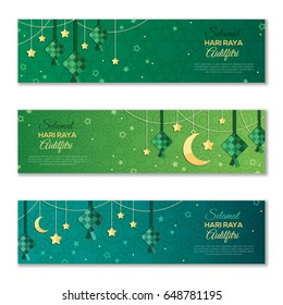 Selamat Hari Raya Aidilfitri horizontal banners. Vector illustration. Hanging ketupat and crescent with stars, garlands on green background. Caption: Fasting Day of Celebration