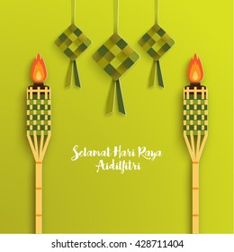 Selamat Hari Raya Aidilfitri Vector Design (Translation: Feast of Breaking the Fast)