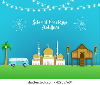 Selamat Hari Raya Aidilfitri Vector Design (Translation: Celebration of Breaking Fast)