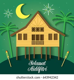Selamat Hari Raya Aidilfitri vector illustration with traditional malay village house / Kampung. Caption: Fasting Day of Celebration