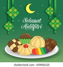 Selamat Hari Raya Aidilfitri vector illustration with traditional malay kuih raya & ketupat. Caption: Fasting Day of Celebration