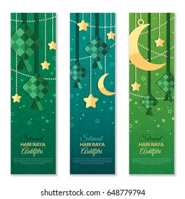 Selamat Hari Raya Aidilfitri vertical banners. Vector illustration. Hanging ketupat and crescent with stars, garlands on green background. Caption: Fasting Day of Celebration