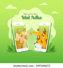 Selamat hari raya Idul Adha is another language of happy eid al Adha in Indonesian. muslim family sharing the meat of sacrificial animal for poor people through smartphone screen concept