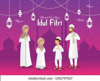 Selamat hari raya Idul Fitri means happy eid mubarak in Indonesian. Cartoon muslim family celebrating Eid al fitr in the night before Eid