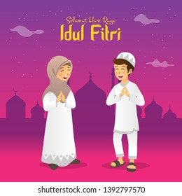 Selamat hari raya Idul Fitri means happy eid mubarak in Indonesian. Cartoon muslim kids celebrating Eid al fitr in the night before Eid