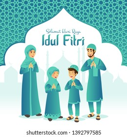 Selamat hari raya Idul Fitri means happy eid mubarak in Indonesian.  Cartoon muslim family celebrating Eid al fitr with mosque and arabic frame on background