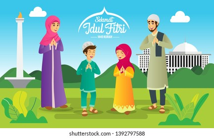 Selamat hari raya Idul Fitri means happy eid mubarak in Indonesian. Cartoon muslim family celebrating Eid al fitr on green background