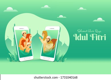 Selamat hari raya Idul Fitri is another language of happy eid mubarak in Indonesian. muslim family blessing Eid mubarak to grandparents through smart phone screens using video call during Covid-19
