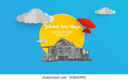 Selamat Hari Raya or Rid Mubarak vector with traditional wooden house with clouds and red traditional malay kite. Papercut effect.