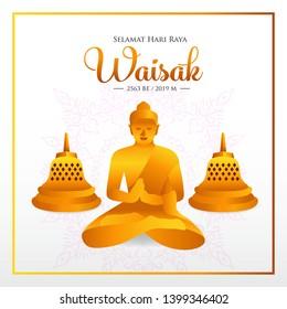 Selamat hari raya Waisak. translation: Happy Vesak Day. vector illustration. Suitable for greeting card, poster and banner