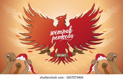 Selamat Hari Sumpah Pemuda. Translation, Happy Indonesian Youth Pledge. Vector illustration with of The hands of a man Indonesian flag and The Garuda bird or state symbol of Indonesia