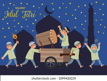 Selamat Idul Fitri is another language of happy eid mubarak in Indonesian. The night before Eid is called takbiran, filled with drums and many muezzins shouting takbir at the mosque and parade around