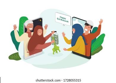 Selamat Idul Fitri is an Indonesian or Malaysian language of Happy Eid Mubarak. Ketupat is special Indonesian Food for Ramadan