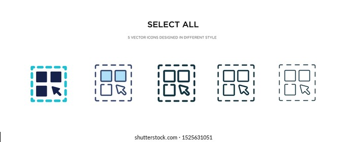 select all icon in different style vector illustration. two colored and black select all vector icons designed in filled, outline, line and stroke style can be used for web, mobile, ui
