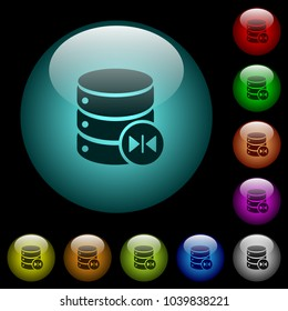 Select database table column icons in color illuminated spherical glass buttons on black background. Can be used to black or dark templates