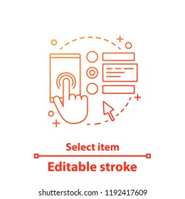 Select items concept icon. Submit order. Online shopping idea thin line illustration. Digital purchase. Place order. Payment options. Vector isolated outline drawing. Editable stroke