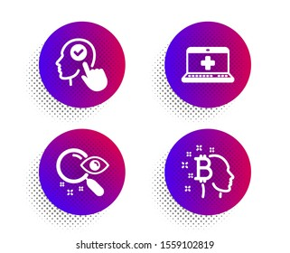 Select user, Search and Medical help icons simple set. Halftone dots button. Bitcoin think sign. Head with checkbox, Find document, Medicine laptop. Cryptocurrency head. Business set. Vector