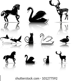 Selected animals symbols icons. Isolated Vector Illustration