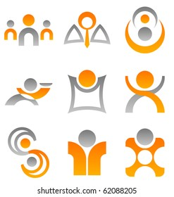 A selection of 9 symbolic illustrations of people which can be used for design elements or icons.
