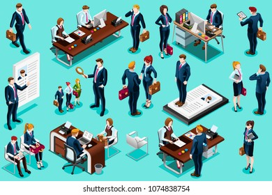 Selection agency for employment, isometric people set, isolated collection. Candidate recruitment interview, application and resume review. Vector design for web banner, infographics, hero images.