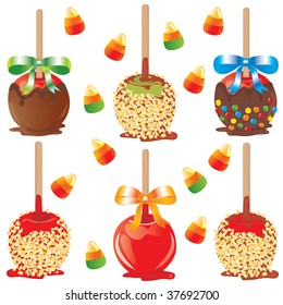 Selection of candy apples isolated on white with candy corn