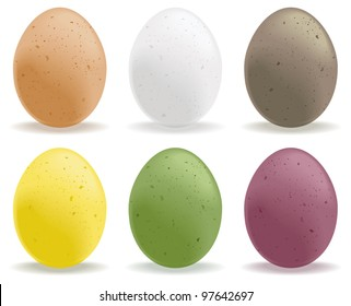 A selection of colored speckled eggs.