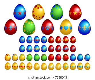 Selection of colorful Easter eggs. File includes several combinations of design and color.