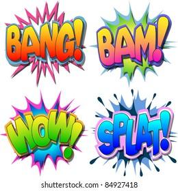 A Selection of Comic Book Illustrations Bang, Bam, Wow, Splat