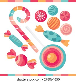 A selection of delicious candy treats vector illustration.