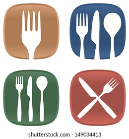 A selection of dining symbols with cutlery and plates in several colors.
