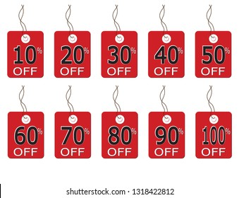 A selection of discount label tags from 10% to 100% on string and isolated on a white background