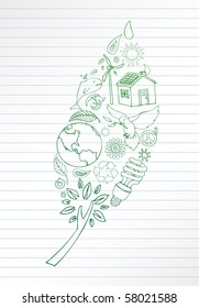 Selection of eco doodles make up leaf shape. Room for your text.